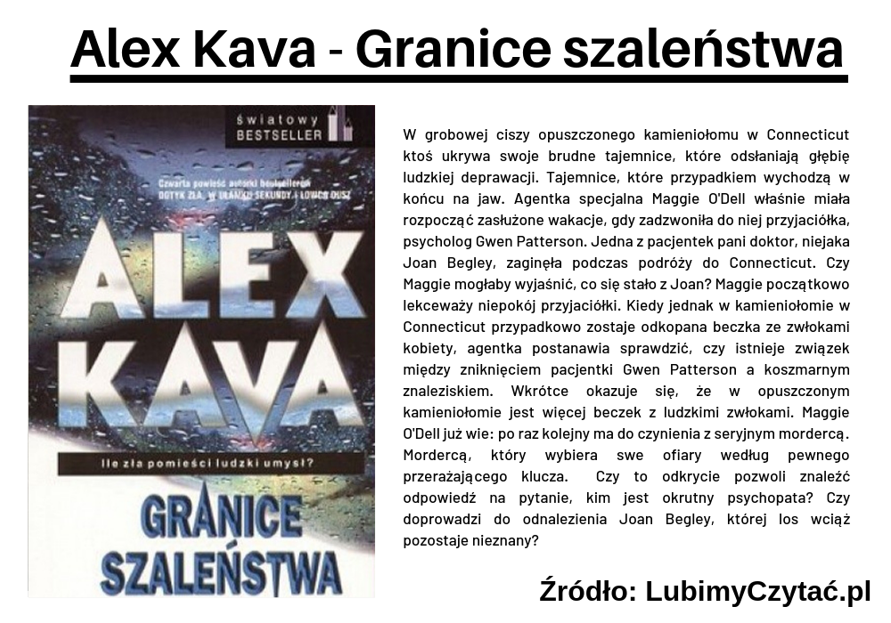 Alex Kava - Granice szaleństwa, Topki, Marzenie Literackie