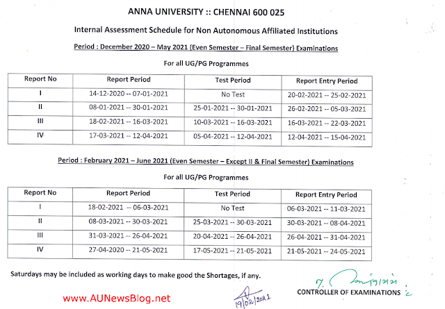 Anna University Internal Assessment Schedule April May 2021 Exams