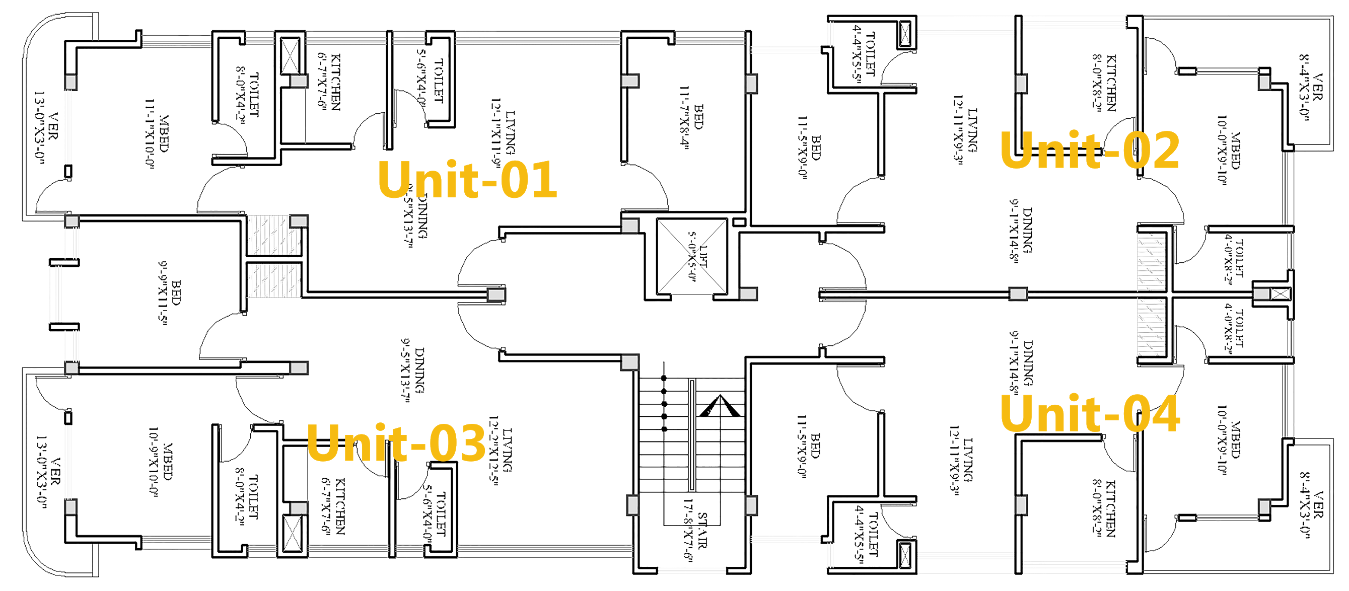 Four unite floor Plan