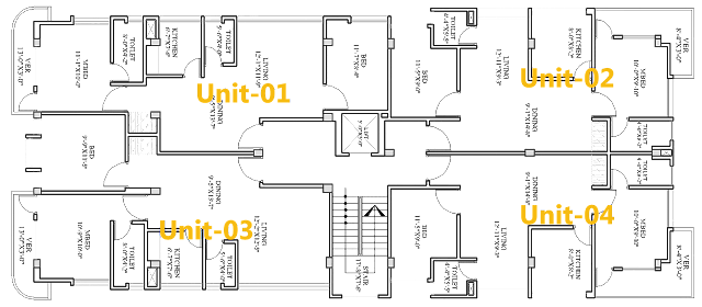 Four unite floor Plan