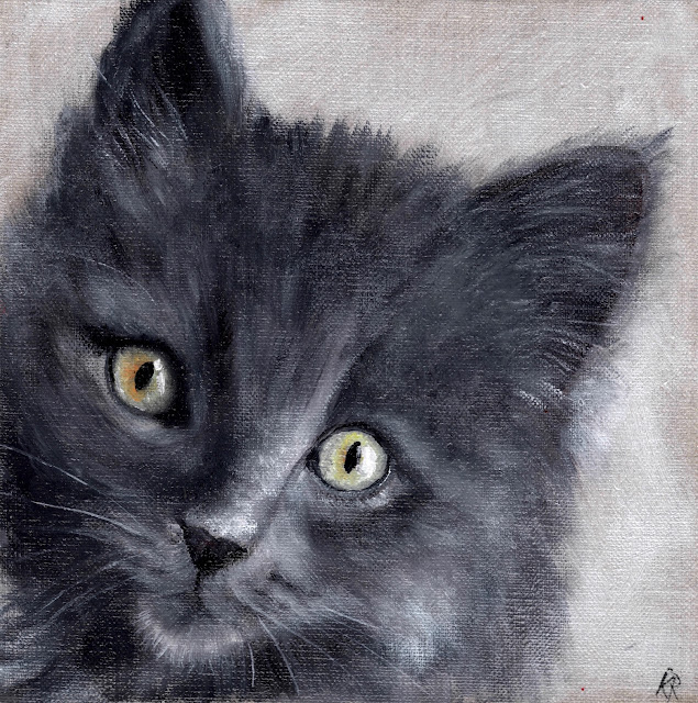 oil painting of a grey kitten