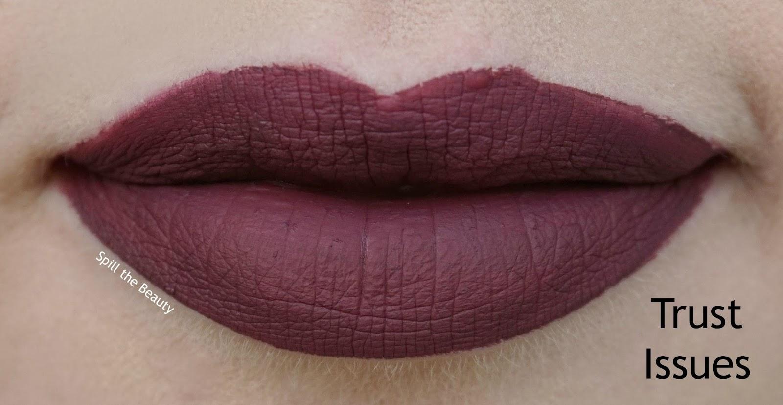 lip swatch comparison dupe anastasia beverly hills liquid lipstick trust issues colourpop h & m