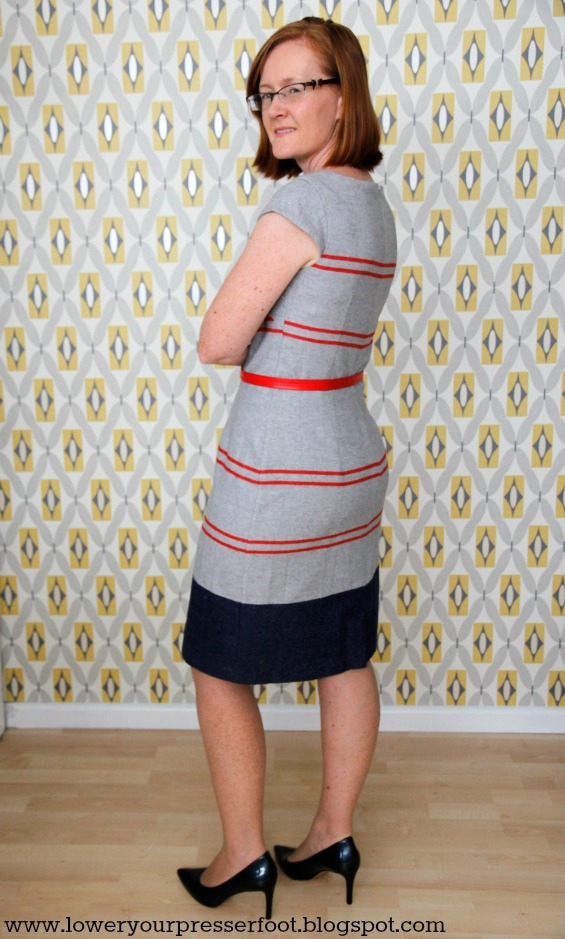 New Look 6968 grey fitted sheath dress skirt makeover www.loweryourpresserfoot.blogspot.com