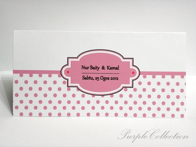 Polka Dots Wedding Invites, pink, malay wedding cards, polka dots card, invitation card