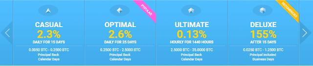 Инвестиционные планы на площадке Bitcy