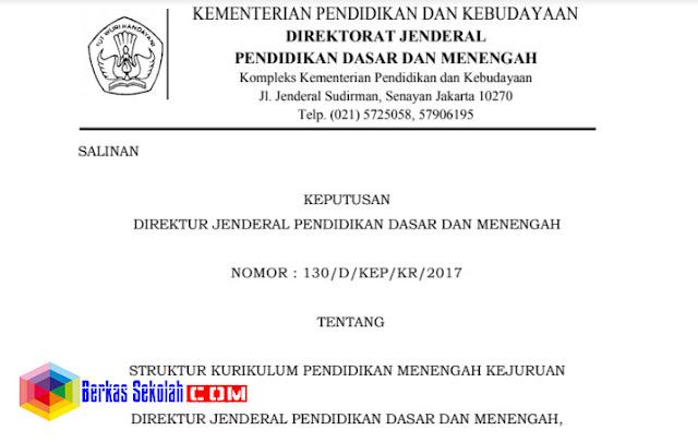 SK Dirjen Dikdasmen No. 130/D/KEP/KR/2017 tentang Struktur Kurikulum SMK 2017