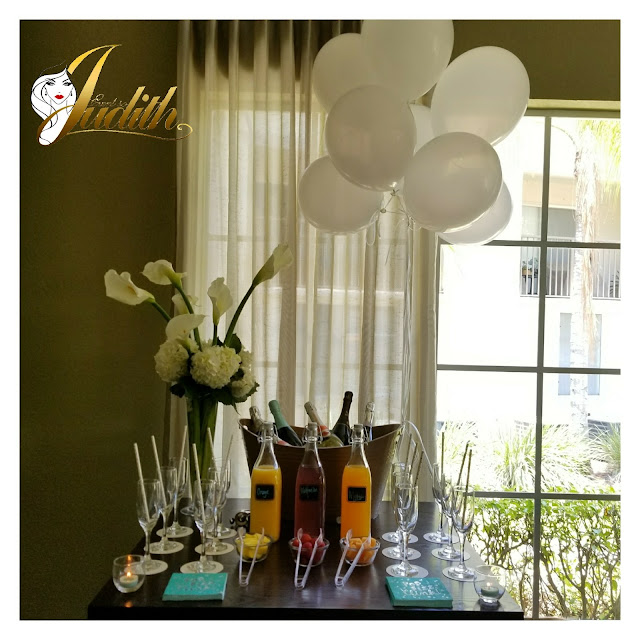 mimosa bar, white balloons, party proffesionals, party planner, south florida party planner