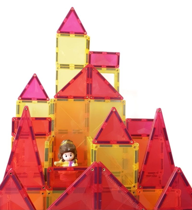 beauty and the beast castle made from magnetic tiles