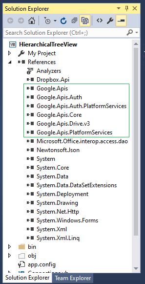 VB .NET Google.Apis.Drive.v3 installation using NuGet in VS2015 Reference