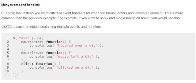 jquery events and handlers
