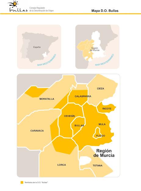 Mapa zonas de producción de la D.O.P. Bullas
