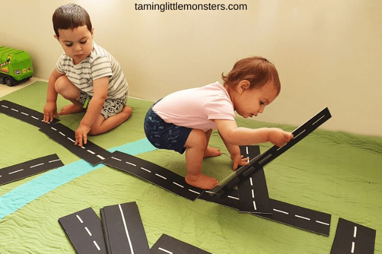 Activities for toddlers - no paint road blocks