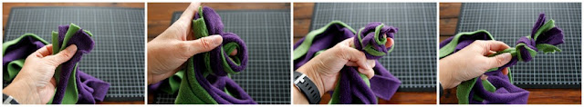 Step-by-step instructions for a simple overhand end knot on fleece dog tug toy