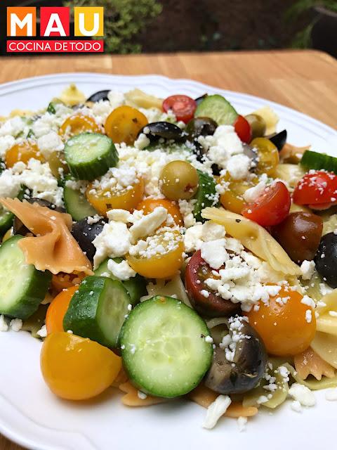 ensalada pasta griega receta mau cocina de todo