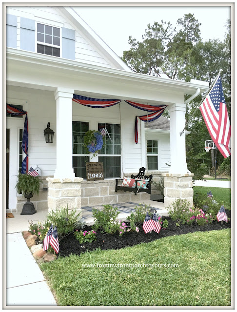 Porch Swing-Bunting-Flags-Farmhouse-Fourth of July-Patriotic Front Porch-From My Front Porch To Yours