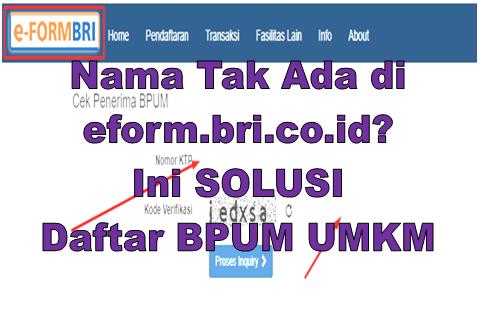 Nama Tak Ada Di Eform Bri Co Id Ini Solusi Daftar Bpum Umkm Go Bizz
