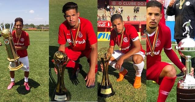 Defensor foi campeão na base do Inter em 2016, 2017, 2018 e 2019 (Foto: Reprodução)