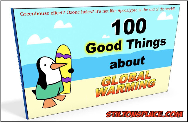 stilton's place, stilton, political, humor, conservative, cartoons, jokes, hope n' change, global warming, climate change, book, 100 good things