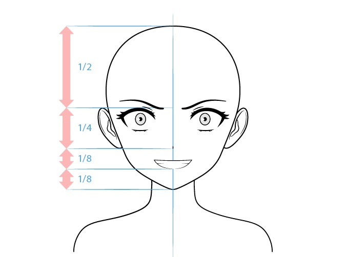 Anime penjahat karakter perempuan menggambar wajah gila