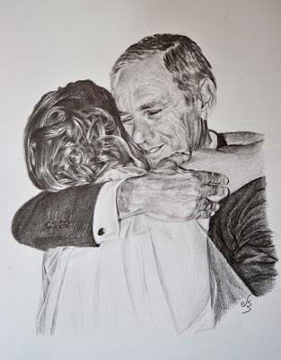 Retrato a lápiz. El abrazo de un padre
