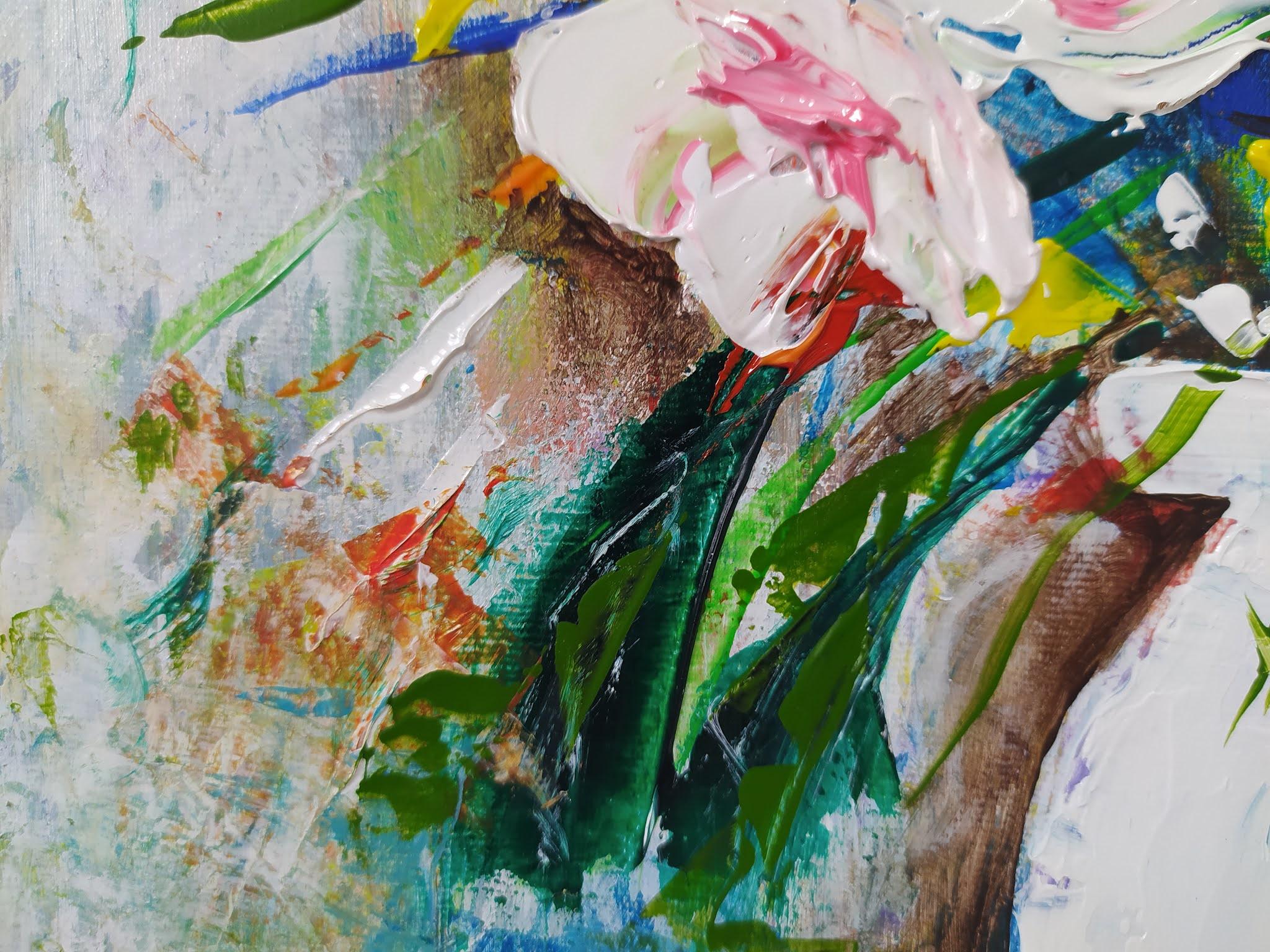 Jarro Branco com Flores (detalhe) - Amóes Xavier