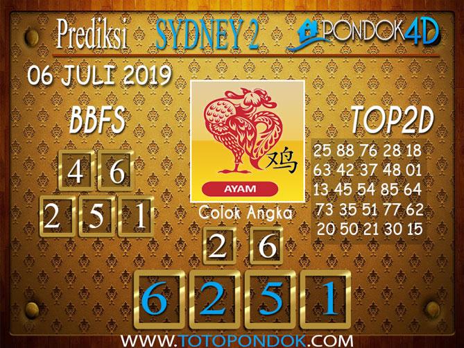 Prediksi Togel SYDNEY 2 PONDOK4D 06 JULI  2019