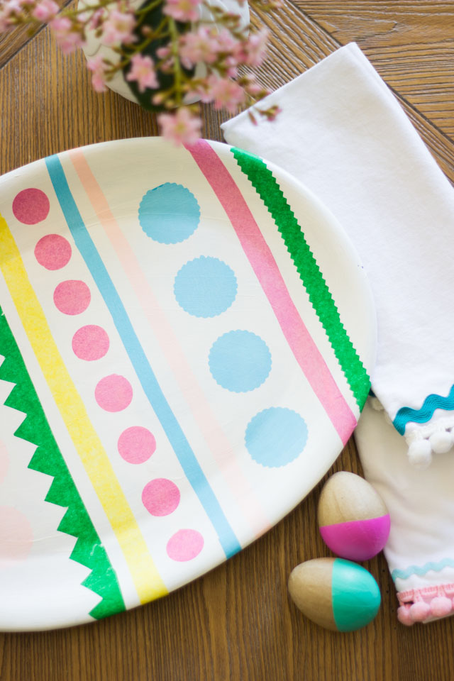 DIY Easter egg tray - made from an oval platter, tissue paper, and Mod Podge!