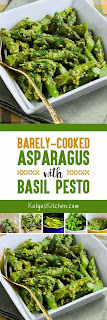 Barely-Cooked Asparagus with Basil Pesto found on KalynsKitchen.com