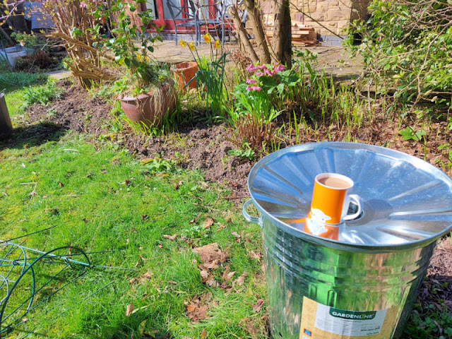 A view of a garden border.  In the foreground is a metal incinerator with an orange mug resting in the lid