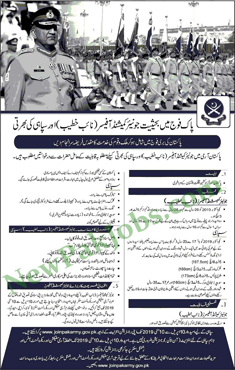 Jobs in Pakistan Army for Khateeb, Sipahi 31 March 2019