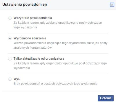Zmiana ustawień powiadomień z wydarzeń na Facebooku 2