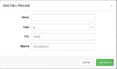 masukkan record google di manage dns