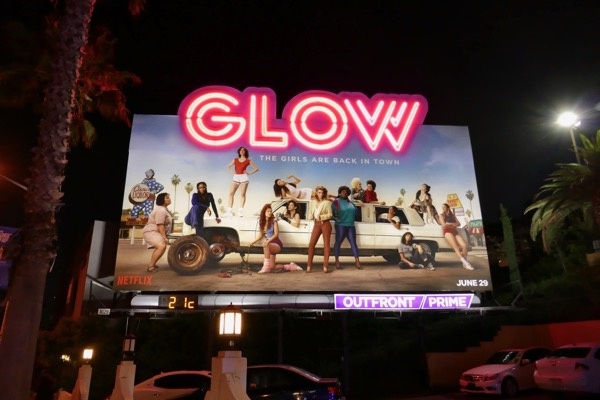 GLOW season 2 neon sign billboard