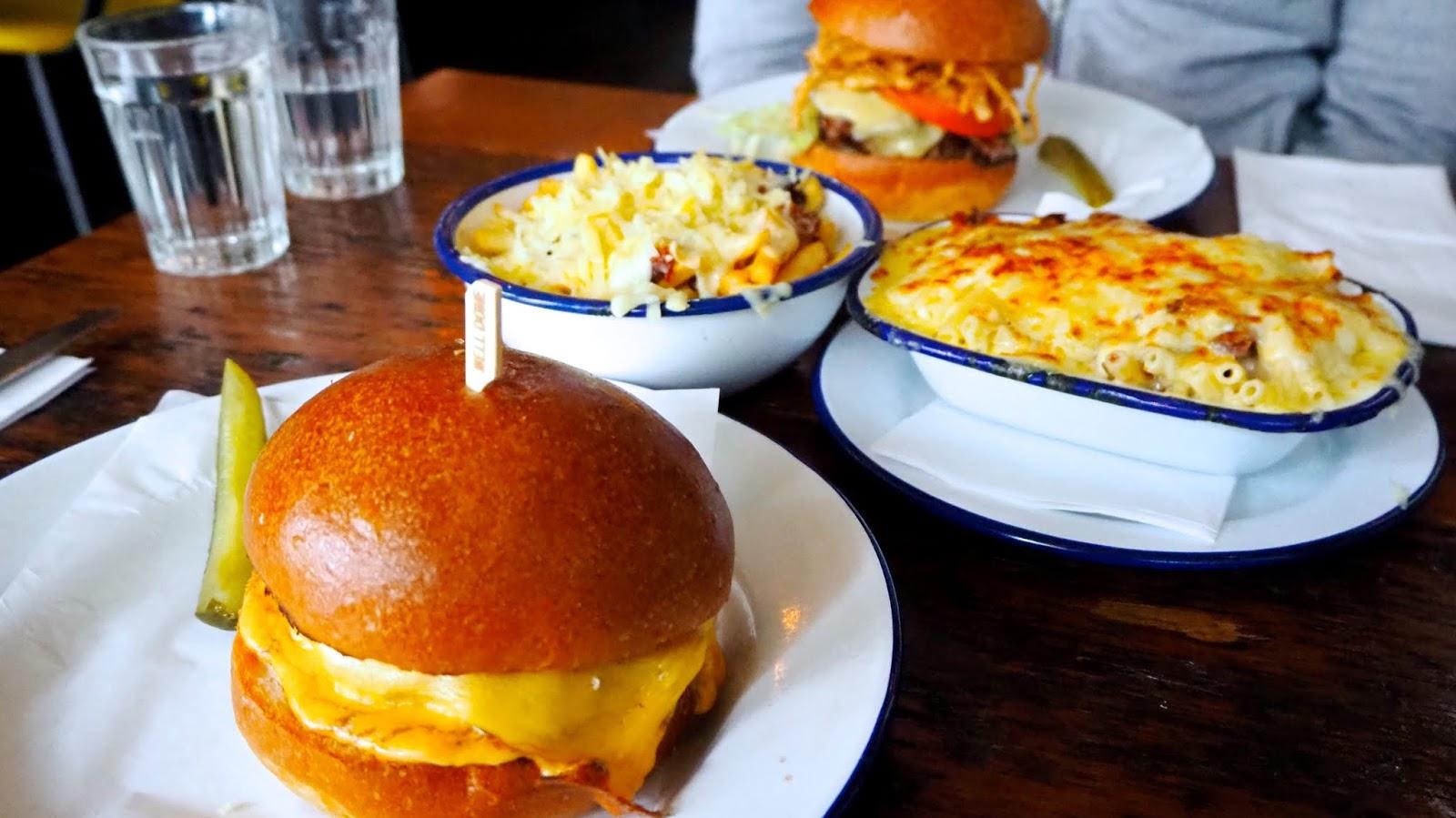 burgers, fries and mac & cheese