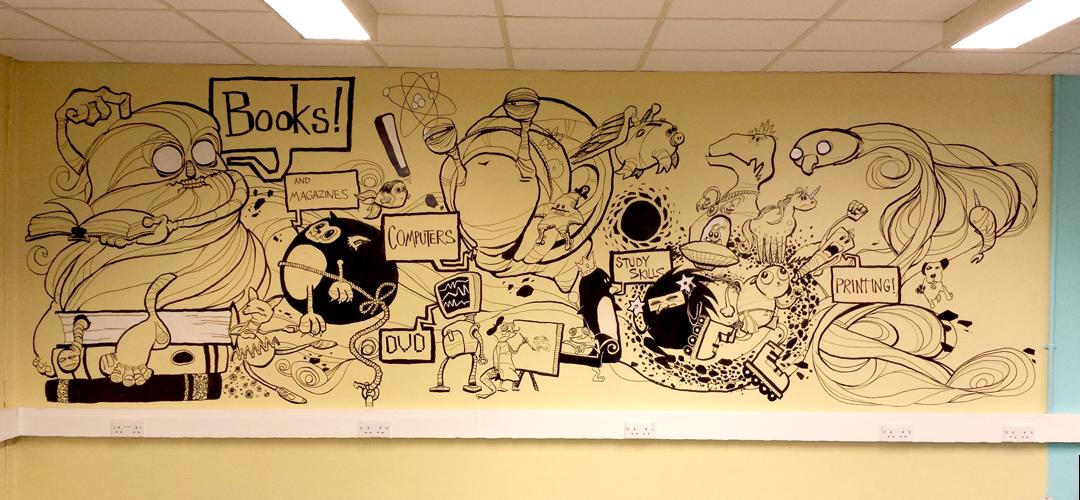 the sunday dog parade library wall mural