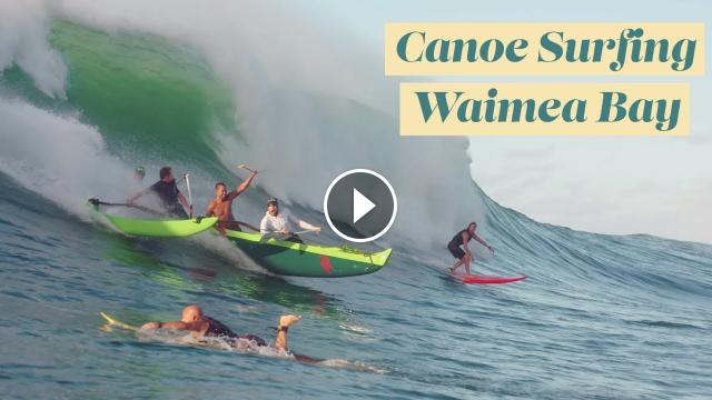 Canoe Surfing HUGE Waimea Bay