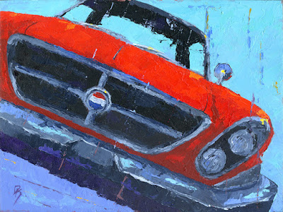 classic car chrysler 300 1961 automotive art knife painting