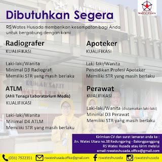 Lowongan Kerja Radiografer, ATLM, Apoteker, Perawat di RS Wates Husada