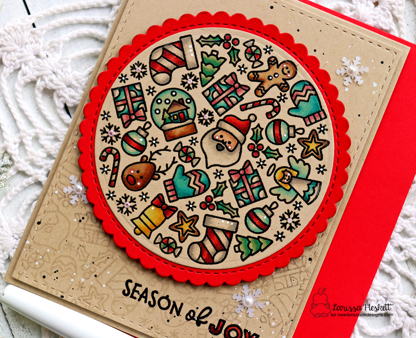 Season of Joy Card by Larissa Heskett for Newton's Nook Designs using Christmas Roundabout Stamp Set and the Circle Frames Die Set  #newtonsnook #newtonsnookdesigns #christmasroundabout #circleframesdieset #wowembossing #copicmarkers