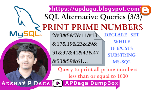 HackerRank: [SQL Alternative Queries] (3/3) PRINT PRIME NUMBERS | declare, set, while, if, exists, substring in ms-sql