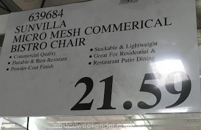 Costco 639684 - Deal for the Sunvilla Micro Mesh Commercial Bistro Chair at Costco