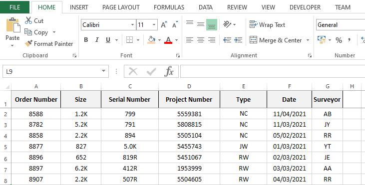 Excel database