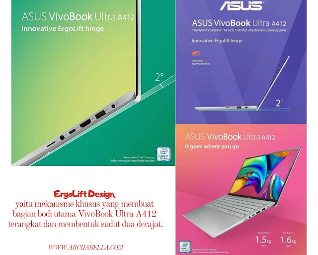 ErgoLift Design, yaitu mekanisme khusus yang membuat bagian bodi utama VivoBook Ultra A412 terangkat  membentuk sudut dua derajat.