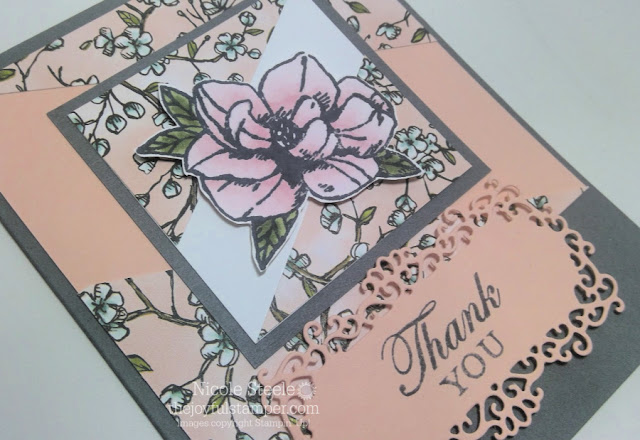 close up of thank you card using Stampin' Up!'s Magnolia Blooms set - Nicole Steele The Joyful Stamper