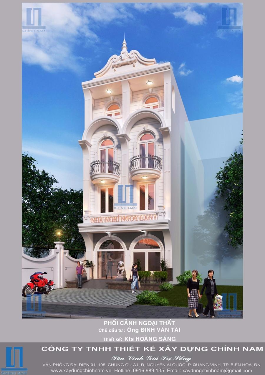 Thiết kế thi công trọn gói nhà nghỉ Mạnh Tài ở Tam Hòa, Biên Hòa, Đồng Nai - Nhà thầu xây dựng