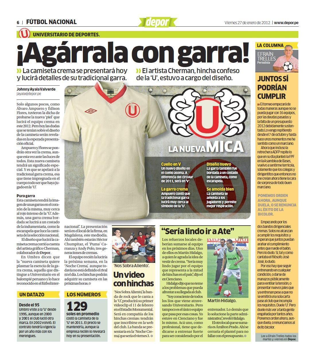 """ca39a7883 Con harta garra: Esta es la nueva camiseta de la 'U' Los cremas presentaron  la 'piel' que usarán este 2012. """"La garra es lo que identifica al equipo"""",  ..."""