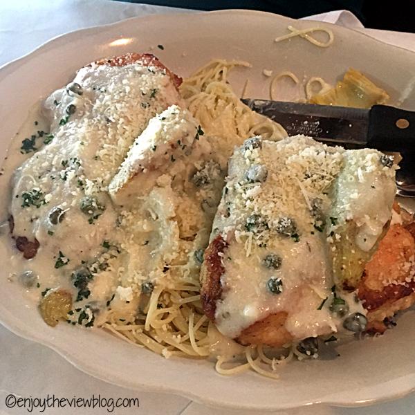 Chicken piccata at Mom & Dad's Restaurant in Tallahassee is delicious! #adventuresofgusandkim #travelover50 #wheretoeatinTallahassee #enjoytheviewblogtravel