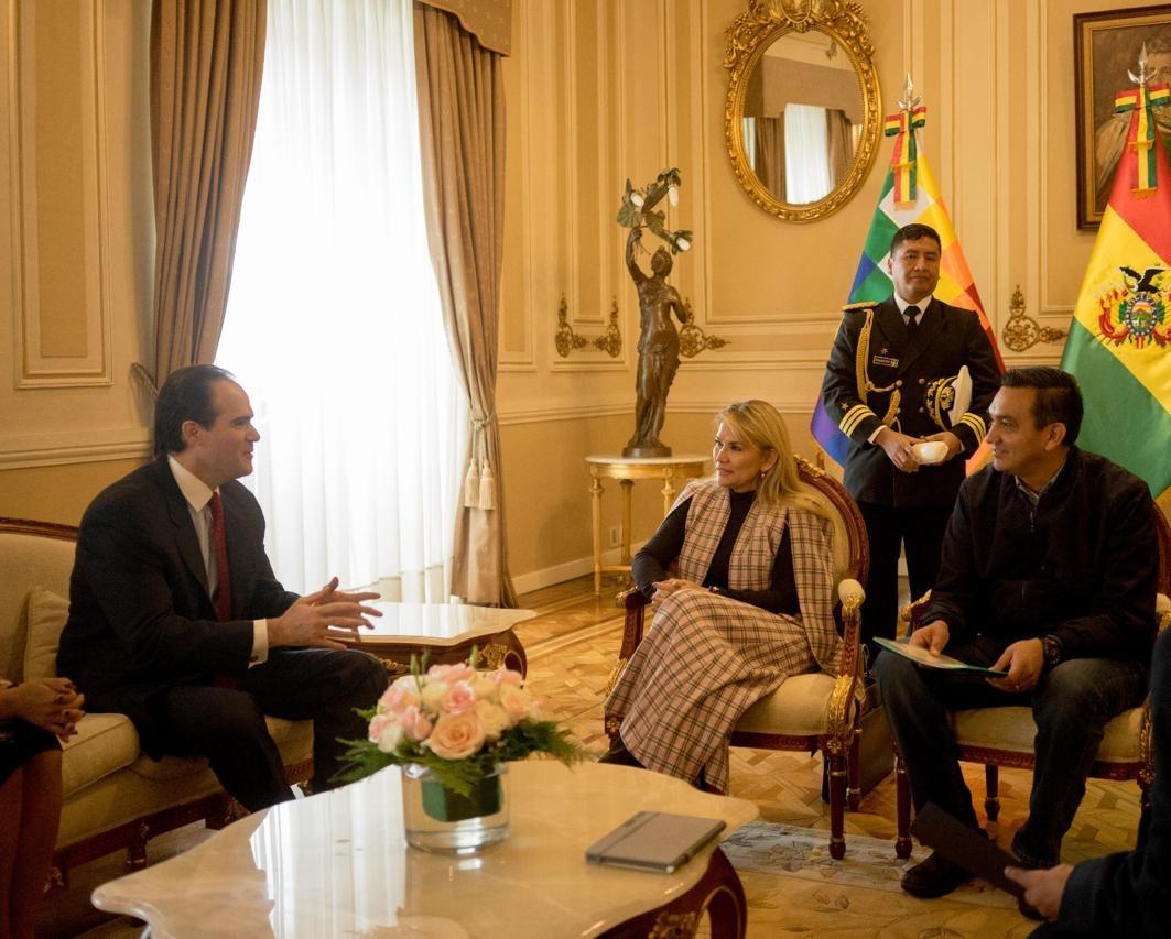 Mauricio Claver-Carone conversa con la presidenta boliviana Jeanine Áñez en Palacio de Gobierno / ABI