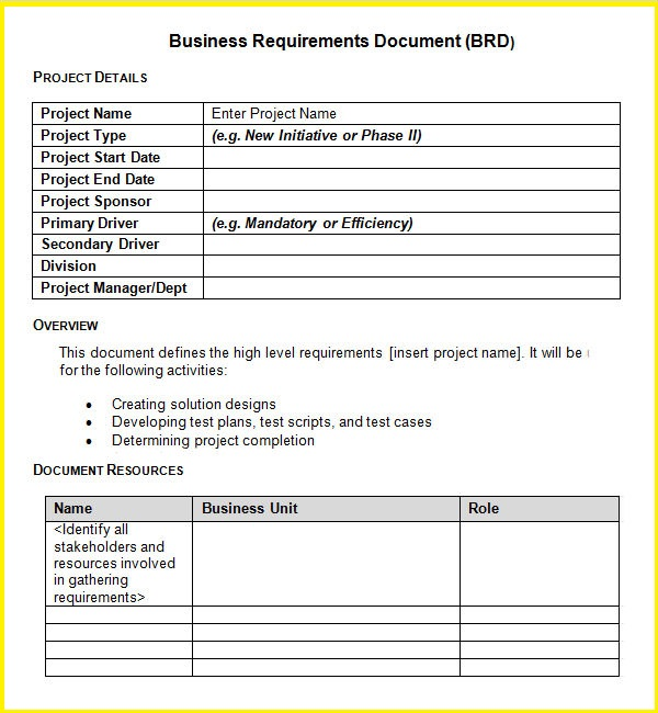 Business Requirements Document Example - Ex