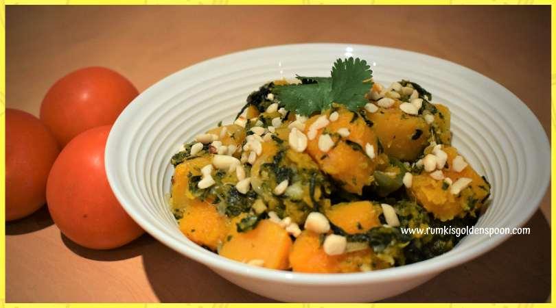 Butternut recipes, Spinach recipes, Palak recipes, Indian veg recipes, vegan recipes, quick and easy recipes, health recipes, kaddu recipes